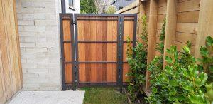 metal frame gate with cedar wood