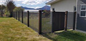 Cedar Gate with Colour Slat Fence
